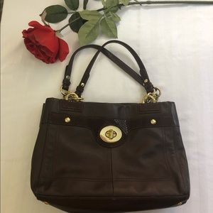 Coach F16531 brown purse with snake skin trim